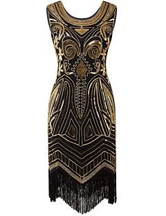 billige Paljettkjoler-Tube / kolonne Besmykket Knelang Blonder Sateng Cocktailfest Kjole med Paljetter Plissert av Z&X