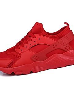 hesapli -Erkek Ayakkabı PU Bahar Sonbahar Rahat Atletik Ayakkabılar Atletik için Bağcıklı Beyaz Siyah Kırmzı