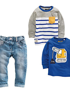 Boys' Stripes Print Sets,Cotton Polyester Spring Fall Long Sleeve Clothing Set