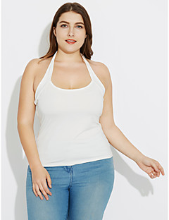Women's Casual/Daily Holiday Sexy Simple Summer Backless All Match Plus Size Fall Tank TopSolid Halter Sleeveless Medium