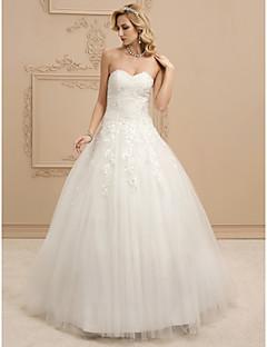 billiga Brudklänningar-Balklänning Hjärtformad urringning Golvlång Tyll Bröllopsklänningar tillverkade med Bård / Applikationsbroderi / Veckad av LAN TING BRIDE®
