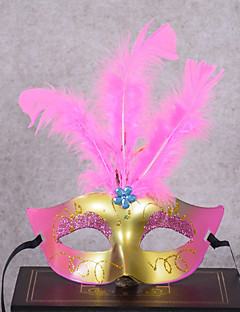 billige Halloweenkostymer-Klassisk Masquerade Mask Gul Rose Rød Blå Rosa Plastikker Cosplay-tilbehør Halloween Maskerade