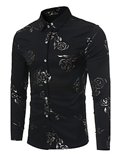 Men's Casual/Daily Simple All Seasons Shirt,Floral Shirt Collar Long Sleeves Polyester Opaque