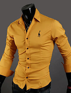 Men's Daily Going out Vintage Casual Sexy Spring Fall Polo,Solid Classic Collar Long Sleeves Cotton Thin