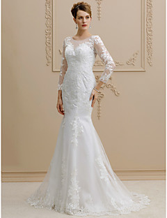 Mermaid / Trumpet Illusion Neckline Sweep / Brush Train Lace Tulle Wedding Dress with Appliques Buttons by LAN TING BRIDE®