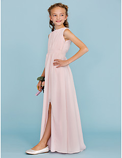 Sheath / Column Crew Neck Floor Length Chiffon Junior Bridesmaid Dress with Draping Sash / Ribbon Split Front by LAN TING BRIDE®