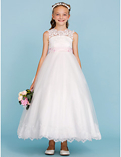 cheap Junior Bridesmaid Dresses-Ball Gown Crew Neck Ankle Length Lace Tulle Junior Bridesmaid Dress with Appliques Bow(s) Sash / Ribbon by LAN TING BRIDE®