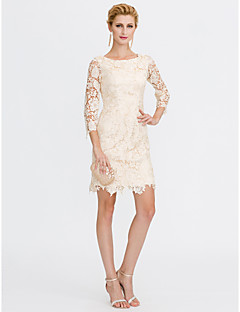 Sheath / Column Scoop Neck Knee Length Lace Mother of the Bride Dress with Lace by LAN TING BRIDE®