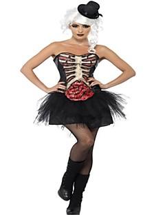 Skjelett / Kranium Zombie Cosplay Kostumer Halloween De dødes dag Festival / høytid Halloween-kostymer Svart Mote
