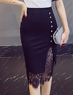 Women's Going out Knee-length Skirts,Simple Vintage Bodycon Lace Cut Out Solid All Seasons