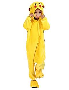 billige Kigurumi-Kigurumi-pysjamas med tøfler Pika Pika Onesie-pysjamas Kostume Flannelstoff Cosplay Til Barn Pysjamas med dyremotiv Tegnefilm Halloween