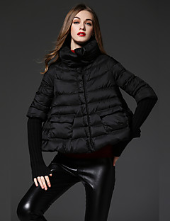 Damen Daunen Mantel,Standard Einfach Lässig/Alltäglich Punkt-Polyester Weiße Entendaunen Langarm