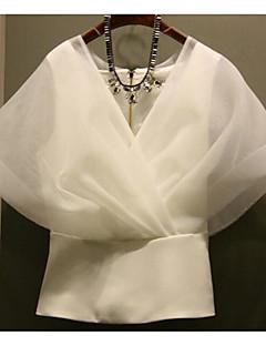 Women's Casual/Daily Simple Summer Shirt,Solid V Neck Short Sleeves Cotton Medium