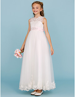 cheap Junior Bridesmaid Dresses-A-Line Princess Crew Neck Ankle Length Tulle Junior Bridesmaid Dress with Beading Appliques Sash / Ribbon by LAN TING BRIDE®