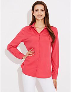 Feminino Camisa Social Casual Simples Sólido Algodão Colarinho de Camisa Manga Longa Fina