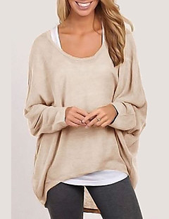 Women's Going out Regular Cardigan,Solid Round Neck Long Sleeves Modal Winter Fall Medium Micro-elastic