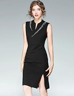 Damen Hülle Kleid-Ausgehen Lässig/Alltäglich Street Schick Solide Asymmetrisch Übers Knie Ärmellos Kunstseide Polyester Elasthan Sommer