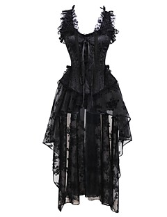 Mulheres Vestido com Corpete Roupa de Noite,Sensual Retro Sólido Algodão