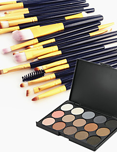 15 farve øjenskygge øjenbryn pulver kosmetisk palette & 20 øjenskygge øjenbryn makeup børste sæt