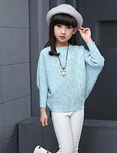 Para Meninas Blusa Cor Única Estampado Primavera Outono Raiom Manga Longa Regular