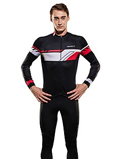 billige Sett med sykkeltrøyer og shorts/bukser-SPAKCT Herre Langermet Sykkeljersey med tights - Svart/Rød Sykkel Klessett