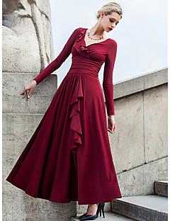 Χαμηλού Κόστους Long Sleeve Dresses-Γυναικεία Μεγάλα Μεγέθη Πάρτι / Αργίες Κομψό στυλ street Swing Φόρεμα - Μονόχρωμο Μακρύ Λαιμόκοψη V