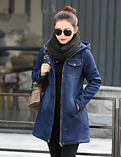 Women's Daily Street chic Winter Fall Denim Jacket,Solid Hooded Long Sleeve Long Cotton