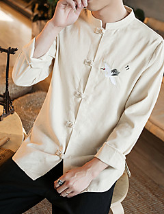 Men's Party Going out Club Vintage Simple Fall Winter Shirt,Solid Embroidery Stand Long Sleeves Linen Thin