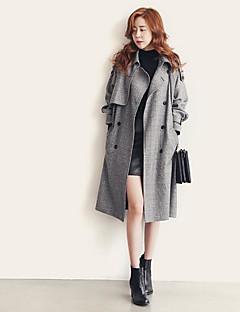 レディース お出かけ 秋 トレンチコート,ストリートファッション ノッチドラペル ソリッド ロング コットン 長袖