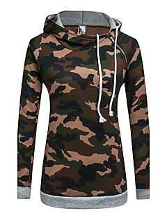 Women's Holiday Casual/Daily Hoodie Camouflage Hooded Inelastic Polyester Long Sleeve Fall Winter