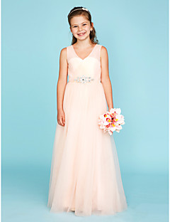 cheap Junior Bridesmaid Dresses-A-Line Princess V-neck Floor Length Tulle Junior Bridesmaid Dress with Crystal Detailing Criss Cross by LAN TING BRIDE®