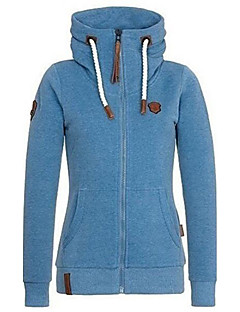 Women's Sports Plus Size Casual Street chic Hoodie Solid Hooded Fleece Lining Micro-elastic Polyester Long Sleeve Spring Fall
