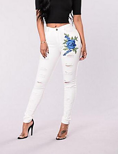 Women's High Rise Micro-elastic Skinny Slim Jeans Pants,Simple Skinny Slim Jeans Embroidered