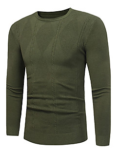 tanie Męskie swetry i swetry rozpinane-Męskie Okrągły dekolt Pulower - Nadruk, Geometryczny