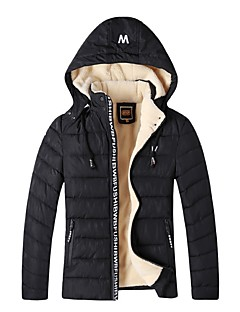 Men's Padded Coat,Street chic Daily Solid-Cotton Long Sleeves