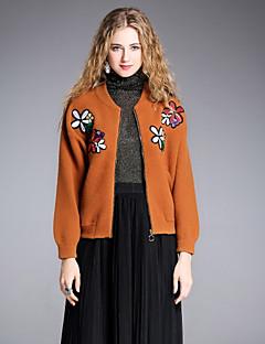 tanie Swetry damskie-Damskie Rozpinany - Haftowane, Jendolity kolor