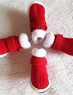 billiga Hundkläder-Hund Skor och stövlar Platta Snökängor Enfärgad Röd För husdjur