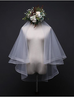 cheap Wedding Veils-Two-tier Wedding Veil Elbow Veils With Ruched Tulle
