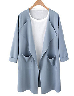 Women's Holiday Going out Punk & Gothic Sophisticated Fall Winter Trench Coat,Solid Cowl Long Sleeve Long Cotton Acrylic