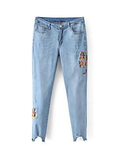 Dámské Mikro elastické Džíny Kalhoty Vypasovaný Mid Rise Výšivka Výšivka