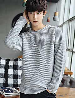 Men's Work Regular Pullover,Solid Crew Neck Long Sleeves Others Winter Spring Medium Micro-elastic