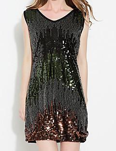 レディース お出かけ ボディコン ドレス,カラーブロック Vネック 膝上 ノースリーブ コットン 春 ミッドライズ マイクロエラスティック ミディアム
