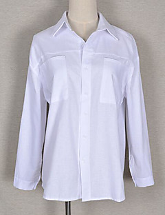 Bomull Langermet,Skjortekrage Skjorte Ensfarget Enkel Ut på byen Fritid/hverdag Dame