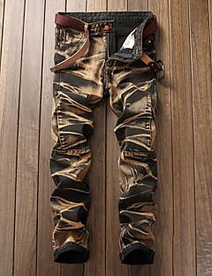 billige Herrebukser og -shorts-Herre Fritid / Punk & Gotisk Bomull Tynn Jeans / Chinos Bukser - dratt, Ensfarget / Helg
