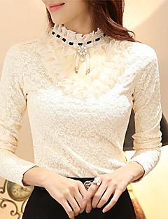 Polyester Medium Langermet,Rullekrage T-skjorte Ensfarget Høst Vinter Fritid/hverdag Dame