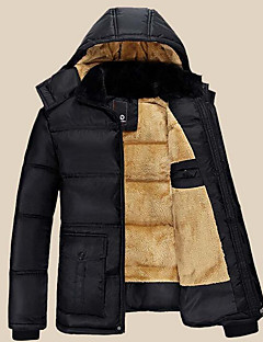 Men's Regular Padded Coat,Simple Going out Casual/Daily Solid-Polyester Polyester Long Sleeves Hooded
