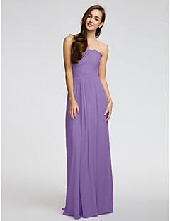Χαμηλού Κόστους Δοκιμάστε το στο σπίτι-Δείγμα προϊόντος Ίσια Γραμμή Στράπλες Μακρύ Σιφόν Δαντέλα Φόρεμα Παρανύμφων με Ζώνη / Κορδέλα Πλισέ με LAN TING BRIDE®