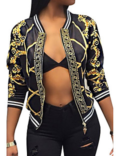 cheap -Women's Daily Going out Weekend Vintage Street chic Spring Fall Short Jacket, Color Block V Neck Polyester Print