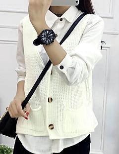 baratos Suéteres de Mulher-Mulheres Diário Sólido Sem Manga Padrão Colete, Decote V Primavera / Inverno Branco / Camel / Lavanda Tamanho Único