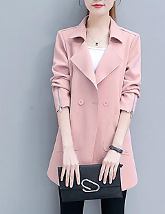 Women's Going out Casual/Daily Street chic Fall Winter Trench Coat,Solid Peaked Lapel Long Sleeve Long Cotton